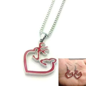 Jewelry - BROWNING Red &Silver BUCK & DOE Love NECKLACE SET